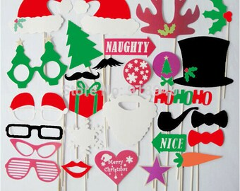 Christmas Photo Booth Props 28 Piece Santa Wedding Photo Props set - Holidays Photobooth Props - Party Props