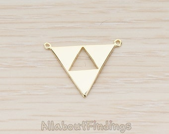 PDT1151-G // Glossy Gold Plated Geometric Aztec Triangle Pendant, 2 Pc