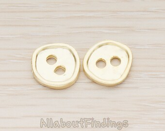 PDT1168-02-MG // Matte Gold Plated  Round Organic Button Shape Pendant, 2 Pc