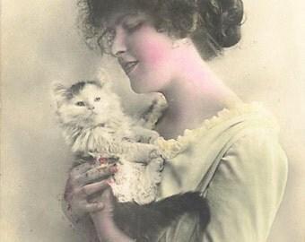 Girl with her new Kitten 8x10 Satin Print