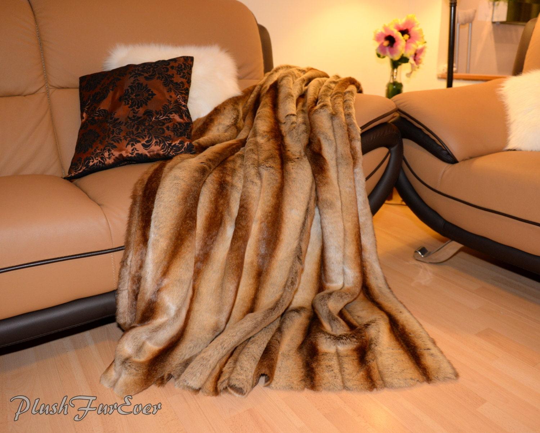 Fall Decor Throw Light Brown Chinchilla Blanket Comforters