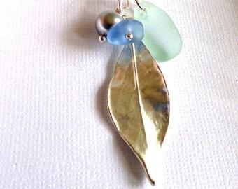 LEAF Sea Glass Necklace Beach Glass Jewelry