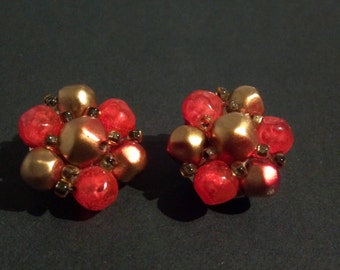 Vintage Cluster Bead Clip-On Earrings Orange and Gold Beads on a Gold-tone Clip-On Setting