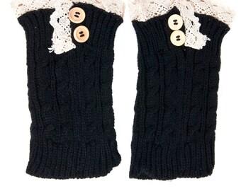 Women Knit Lace Short Button Leg Warmers, Boot Socks, Leg Sweaters, Cable Knit Socks-Black