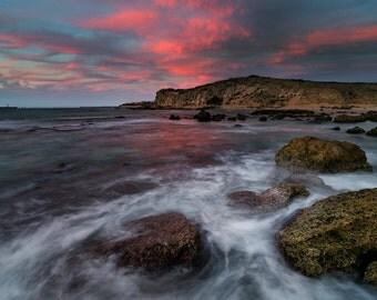 Landscape Photography, Wall Decor, Nature,  Fine Art Photograph, Beach, Seascape Photography, sunset, rock