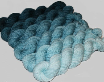 Gradient Yarn SWEATER SET- Hand dyed Superwash  sock yarn  in Teal