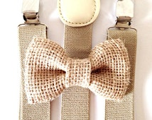 Tan khaki suspenders + Burlap Bow Tie Kids Children Toddler Baby Boys Boy Teens Adult Rustic Wedding Photos family photoshoot ring bearer