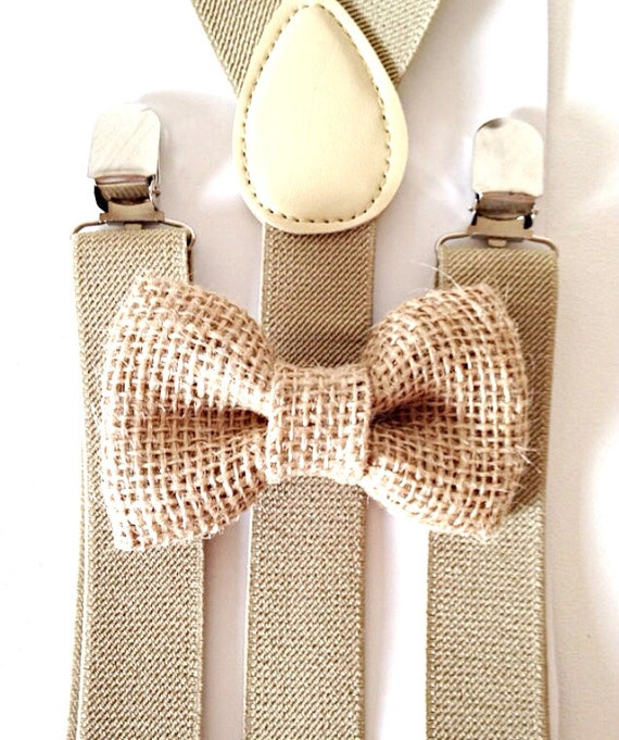 Tan Suspenders and Burlap Bow Tie