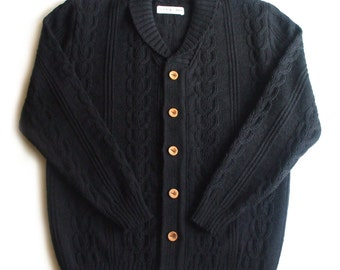 Men's lambswool Shawl neck cardigan with handmade oak buttons/sweater cardigan/jumper/plaits/cable/gray/black