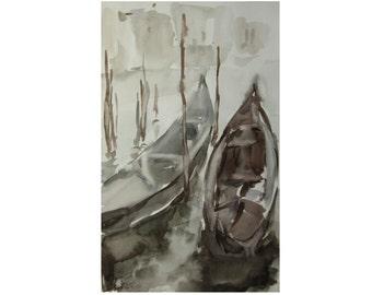 Gondolas - venetian landscape - original watercolor