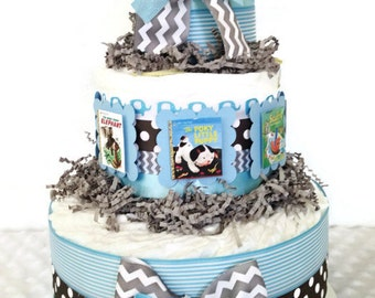 Book Themed Diaper Cake for Boys, Baby Boy Book Theme Centerpiece