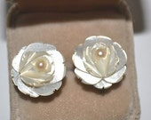 Carved Rose Mother of Pearl with Real Pearl Center Earrings