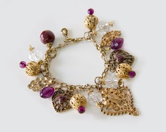 Vintage repurposed charm bracelet, Purple Heart, Gold and purple, Upcycled jewellery