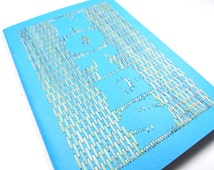 Hand embroidered notebook brick stitch Notes typography-home office accessory-paper goods-travel-writing-diary-textile graphic design