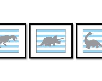 Dinosaur Nursery Art Dinosaur Prints Set of 3 Prints Blue Grey Stripes Tyrannosaurus Rex Triceratops Brachiosaurus Baby Boy Wall Decor