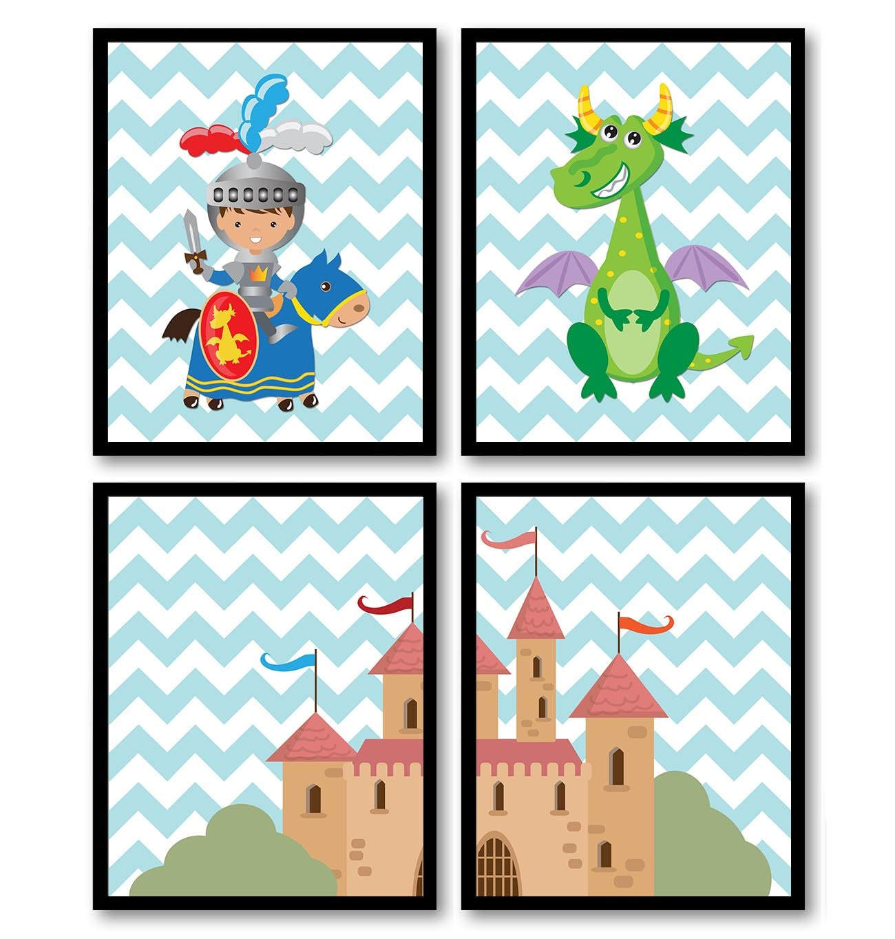 Fairy Tale Nursery Art Child Baby Set of 4 Art Prints Blue Chevron Boy Knight Dragon Castle Kids Roo