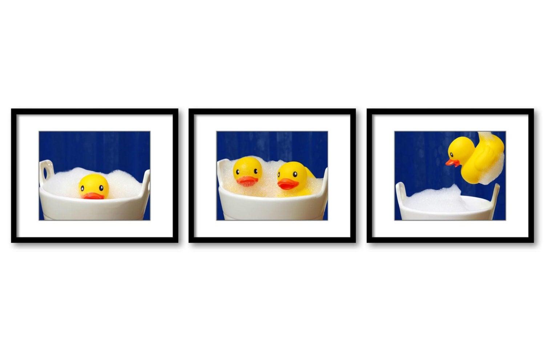 Navy Blue Yellow White Bathroom Print Rubber Duck Dcky Art Child Baby Art Print Set of 3 Kids Wall D