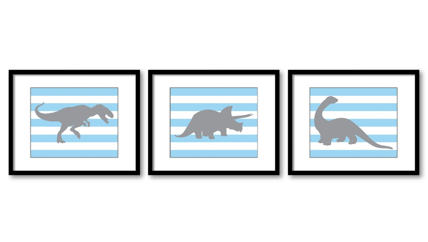 Dinosaur Nursery Art Dinosaur Prints Set of 3 Prints Blue Grey Stripes Tyrannosaurus Rex Triceratops