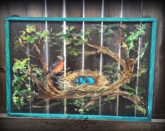Old recycle Window Screen Robin and Nest paintings, spring bird art,decorate outdoor, colorful nest