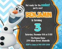 Olaf Frozen Movie Birthday Party Invitation Digital File