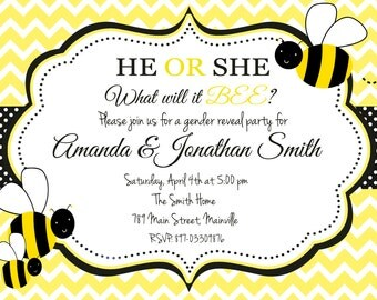 Bumble Bee, Honey Bee, Bumblebee, Gender Reveal Party Invitation - Digital Printable File