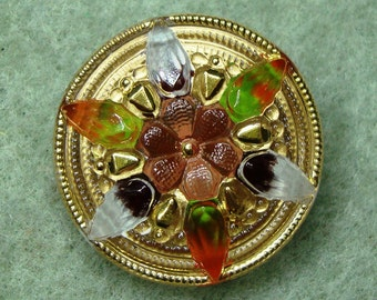 "Czech Glass Button 12""= 27mm handpainted - blossom, orange, pink, green, gold (B27238)"