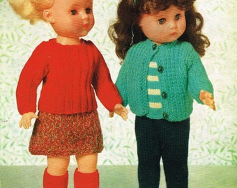 16 inch Dolls Clothes Knitting (and crochet)  pattern. Vintage copy. PDF Instant download.