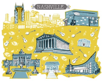 Wall Art-Nashville Tennessee-Art Print-3 Color-City Illustrations-10x8-Yellow-Light Grey-Grey