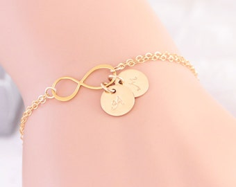 Gold Initial Bracelet, Gold Infinity Bracelet, Vermeil, Friendship Jewelry, Personalized, Wedding Bracelet, Wedding Gift, Bridesmaid Gift