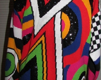Geometric Print Art Deco Mod Psychedelic Sequin Knit Sweater Made in Hong Kong