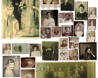 Vintage Photographs of Women and Girls Number 1 Digital Download Collage Sheet