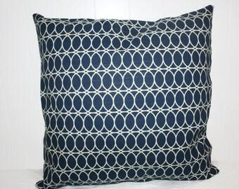 Decorative 18x18 HGTV Navy and Cream Geometric  Pillow Cover