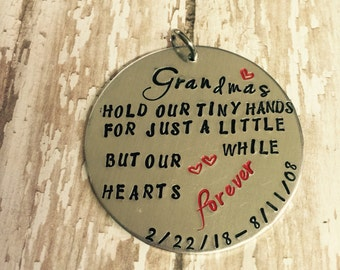 Hand Stamped Personalized-Grandma-In Memory of-sympathy-remembrance-keepsake Gift-Our First Christmas- Merry Christmas 2014 Ornaments