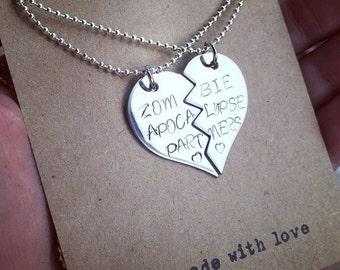zombie apocalypse partners stamped necklace/keychains