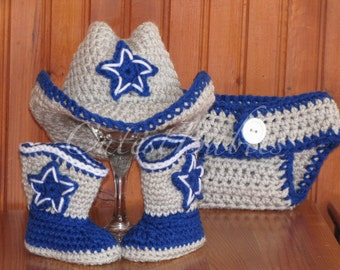 Newborn Baby Crochet Dallas Cowboy/ Cowgirl Costume Hat, Boots & Diaper Cover Photo Prop. 0-3, 3-6m