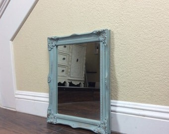 MIRROR, Wooden Mirror, Blue Wall Mirror, Ornate Mirror, Cottage Chic Decor, Home And Living, Furniture, Wood Mirror, Wall Art