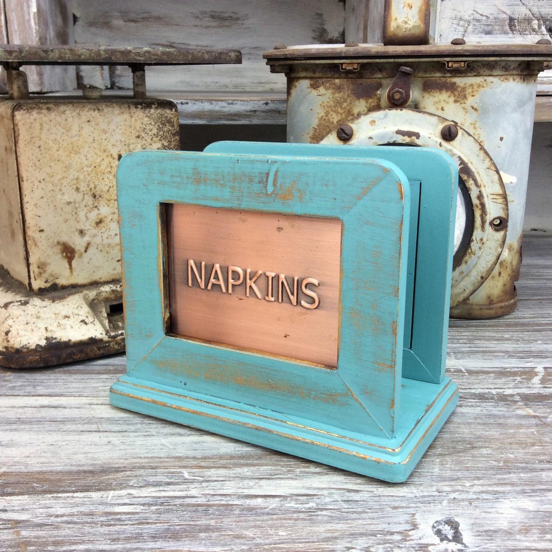 Turquoise napkin holder wooden napkin holder beach cottage - Coastal napkin holder ...