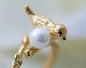 The Eole - Bird & pearl branch adjustable ring - 18k gold or sterling silver