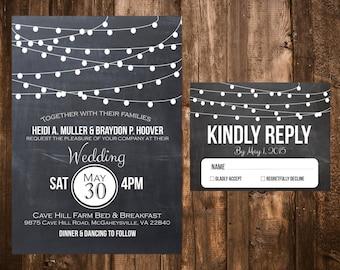 Chalkboard & Lights Wedding Invitations; Printable OR set of 25