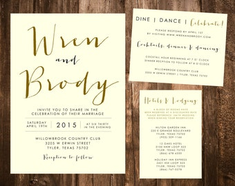Ivory Sleek & Stylish Wedding Invitation Set