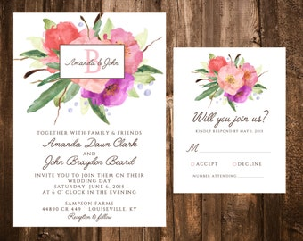 Garden Bloom Watercolor Floral Wedding Invitatio Set