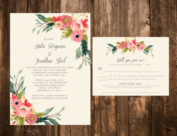 Bright Wedding Invitations: Whimsical Floral Wedding Invitations Bright & Bold Printable