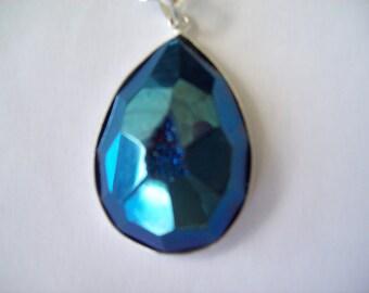 Faceted Titanium Druzy Pendant - Cobalt Blue
