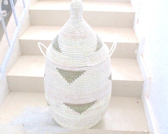 Triangles, basket, chest, cesto Korb, black and white home decor, Storage Hamper ready to be shipped