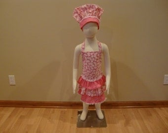 Childrens Adjustable Apron and Chef Hat Set