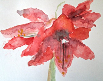 Original Watercolor Painting Amaryllis Series #3  Signed by Artist Unframed