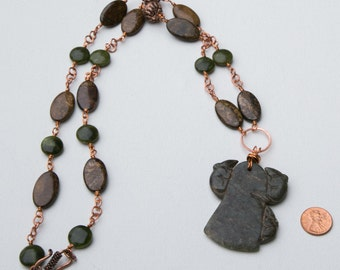Ancient Chinese jade pendant with 3 mice, on a beautiful chain made of copper, green opal beads, oblong bronzite beads and copper beads..