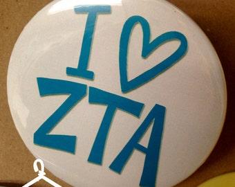 I {Heart} Zeta Tau Alpha Button or Magnet