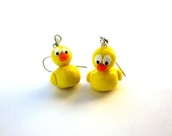 Yellow Polymer Clay Rubber Duck Earrings, Yellow Polymer Clay Jewellery, Bird Polymer Clay Jewellery, Kawaii Unique Colourful Earrings