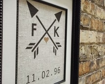2nd Anniversary Gift on Cotton   Heart and Arrow Print   Excellent for Showers, Engagements, Weddings   Choose Your Initals